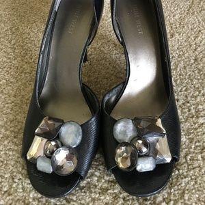 Nine West Open Toe Black stiletto heels (8.5)